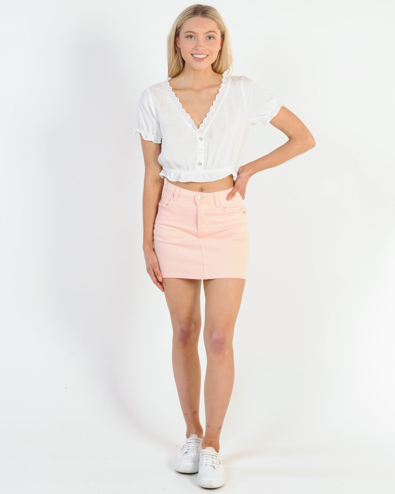 Dolly Denim Skirt - Pink