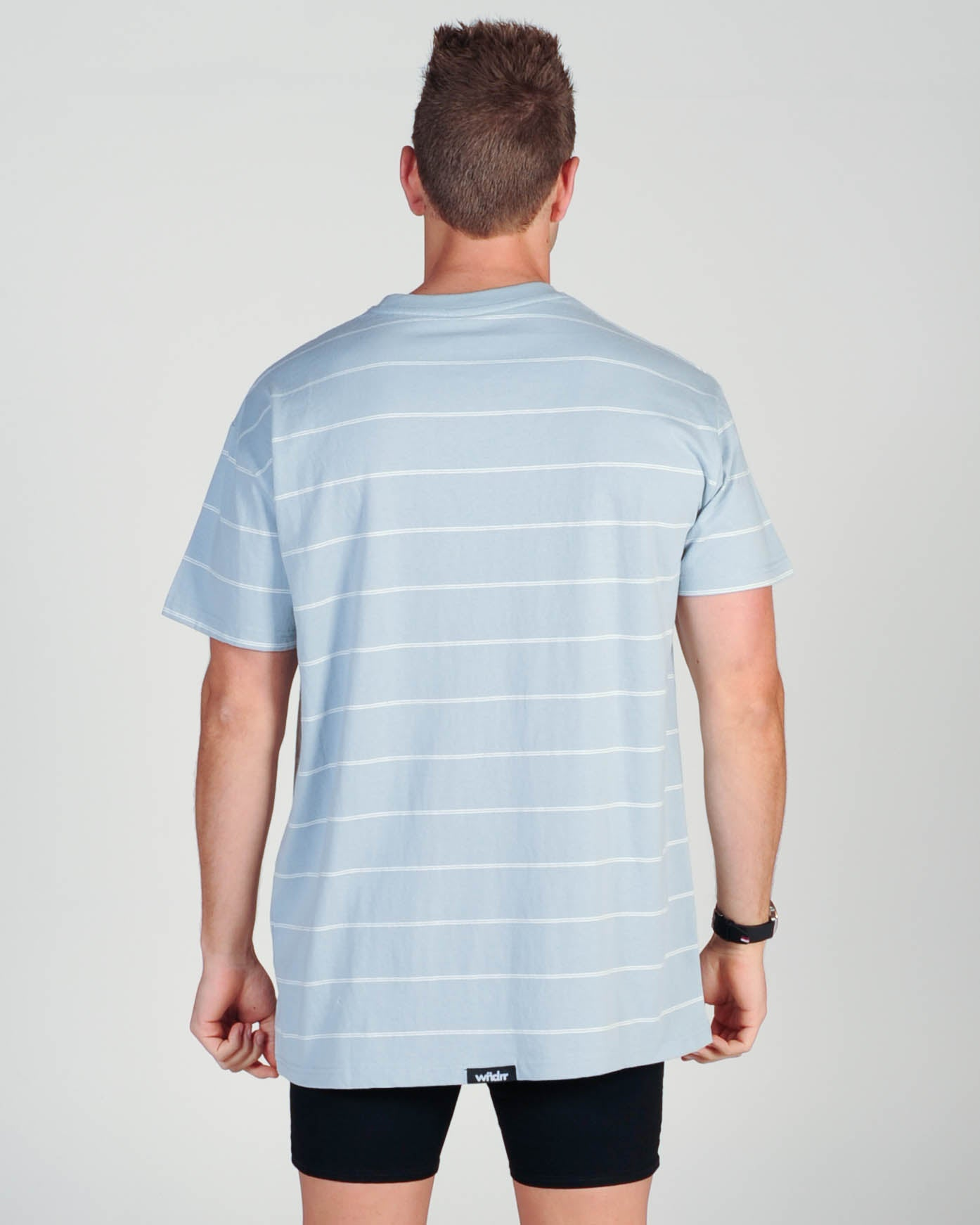 Wndrr Limitless Stripe Custom Fit Tee - Chalk Blue/White