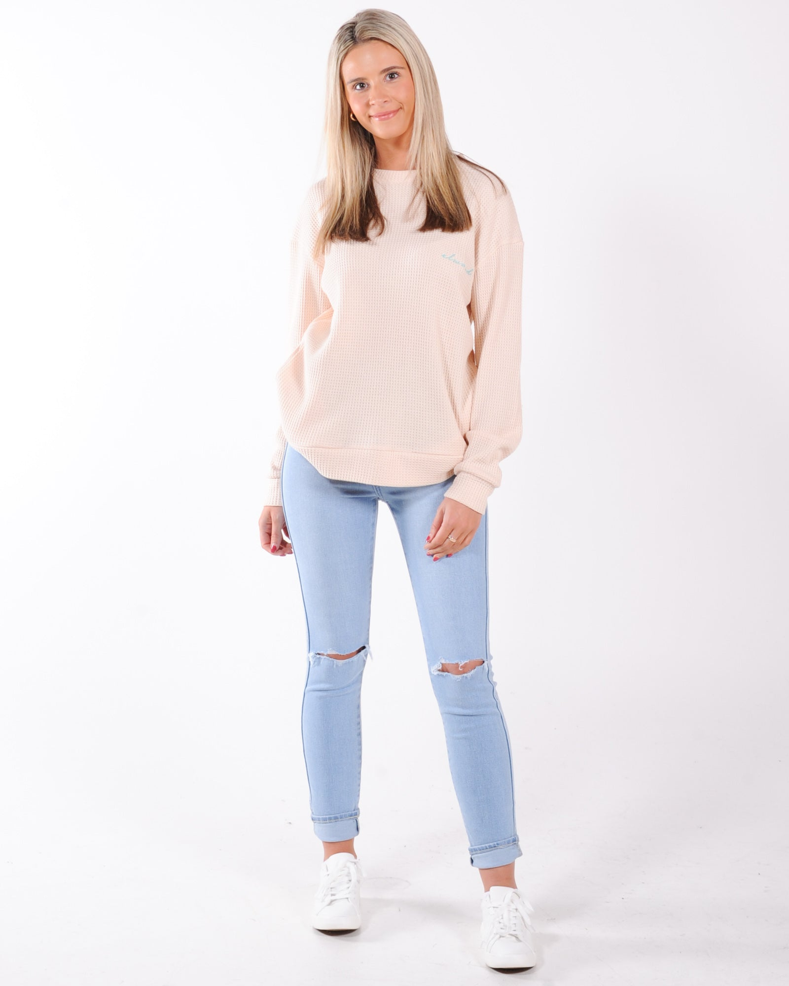 Elwood Willow Waffle Crew Sweat - Off White