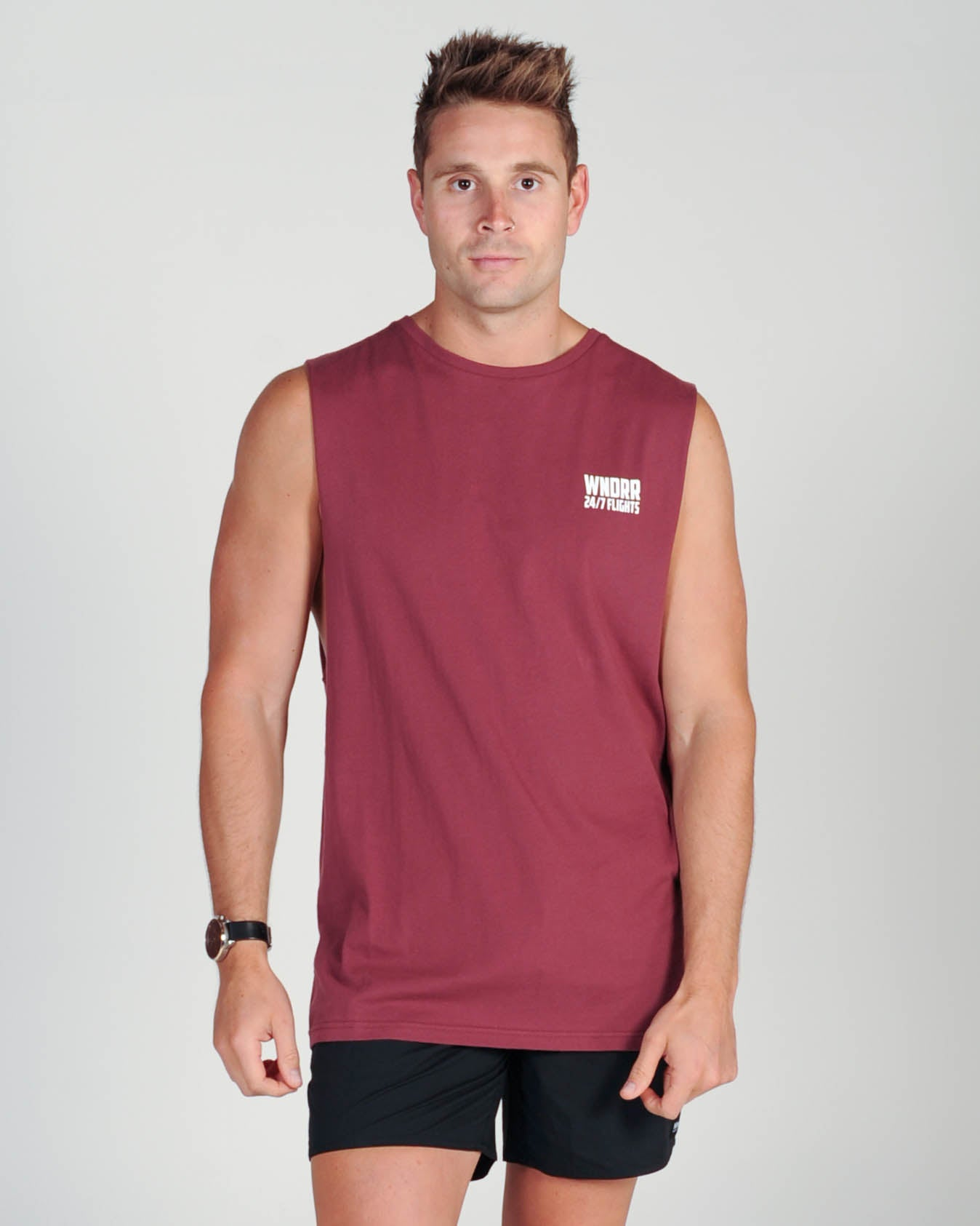 Wndrr Flights Muscle Top - Burgundy