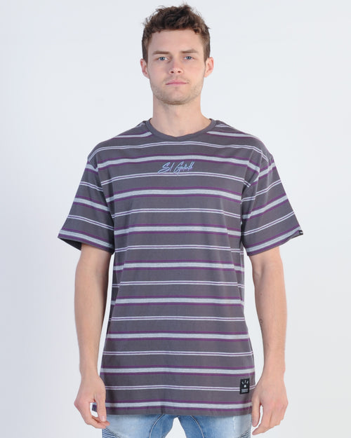 St. Goliath Upton Tee - Black/Purple Stripe