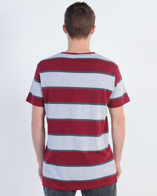 St. Goliath Braff Tee - Burgundy/Grey Stripe