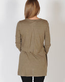 MADISON SQUARE HANA OVERLAY KNIT TOP - KHAKI