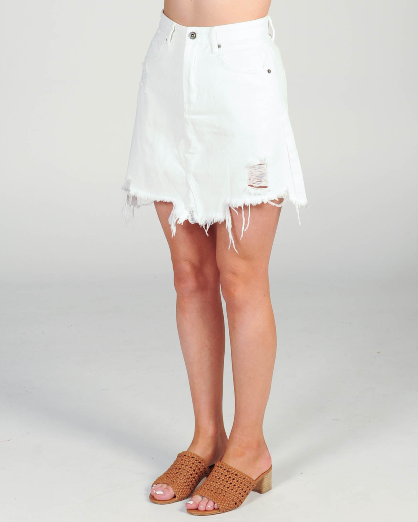 Madison The Label Jaymee Denim Skirt - White