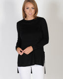 MADISON SQUARE HANA OVERLAY KNIT TOP - BLACK
