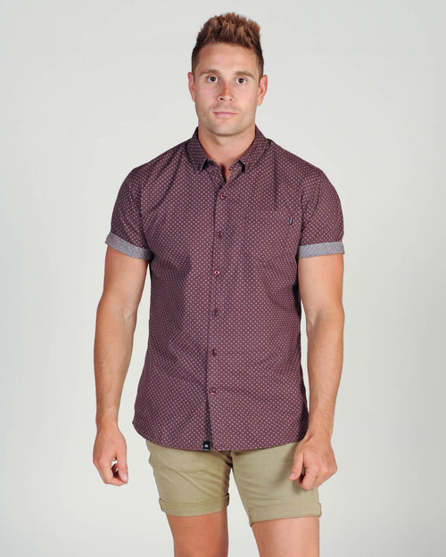 St. Goliath Islington Print S/S Shirt - Burgundy