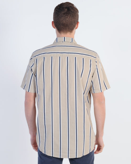 Silent Theory Slide S/S Shirt - Sand Stripe