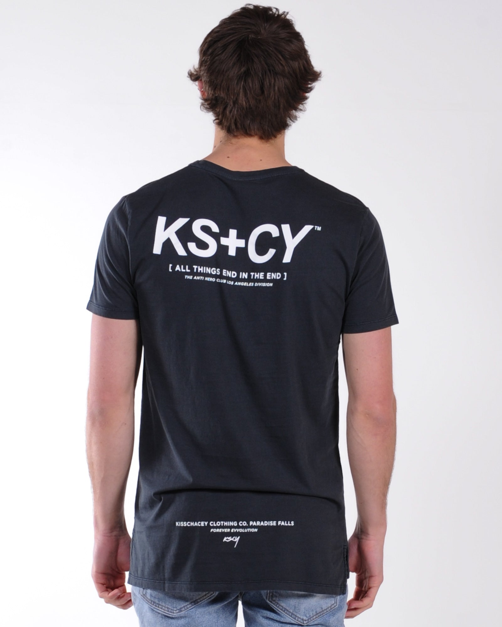 Kiss Chacey Perspective Step Hem Tee - Pigment Graphite