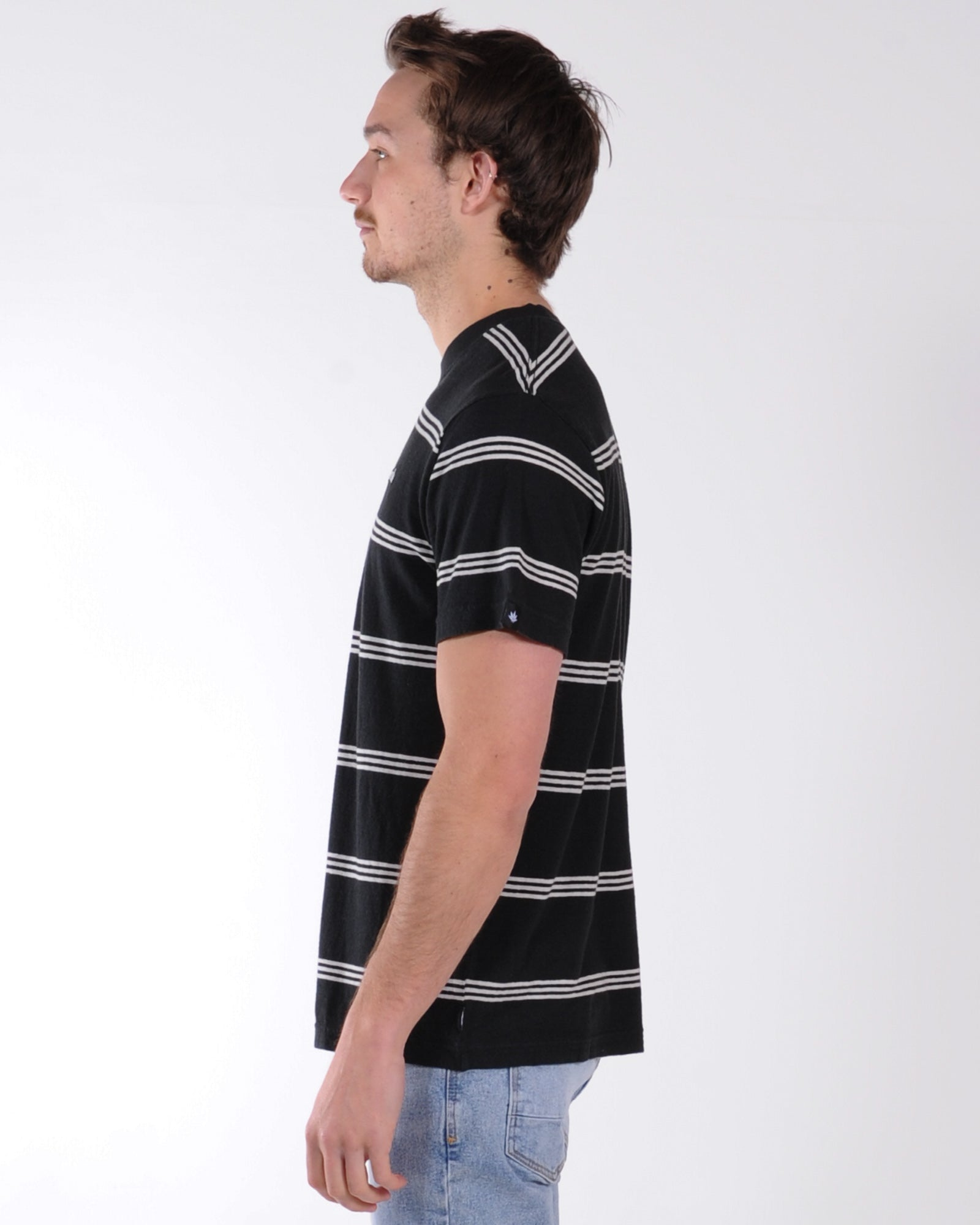 Afends No Chance Stripe Tee - Black