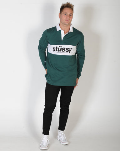 STUSSY STATE L/S RUGBY TOP - BOTTLE