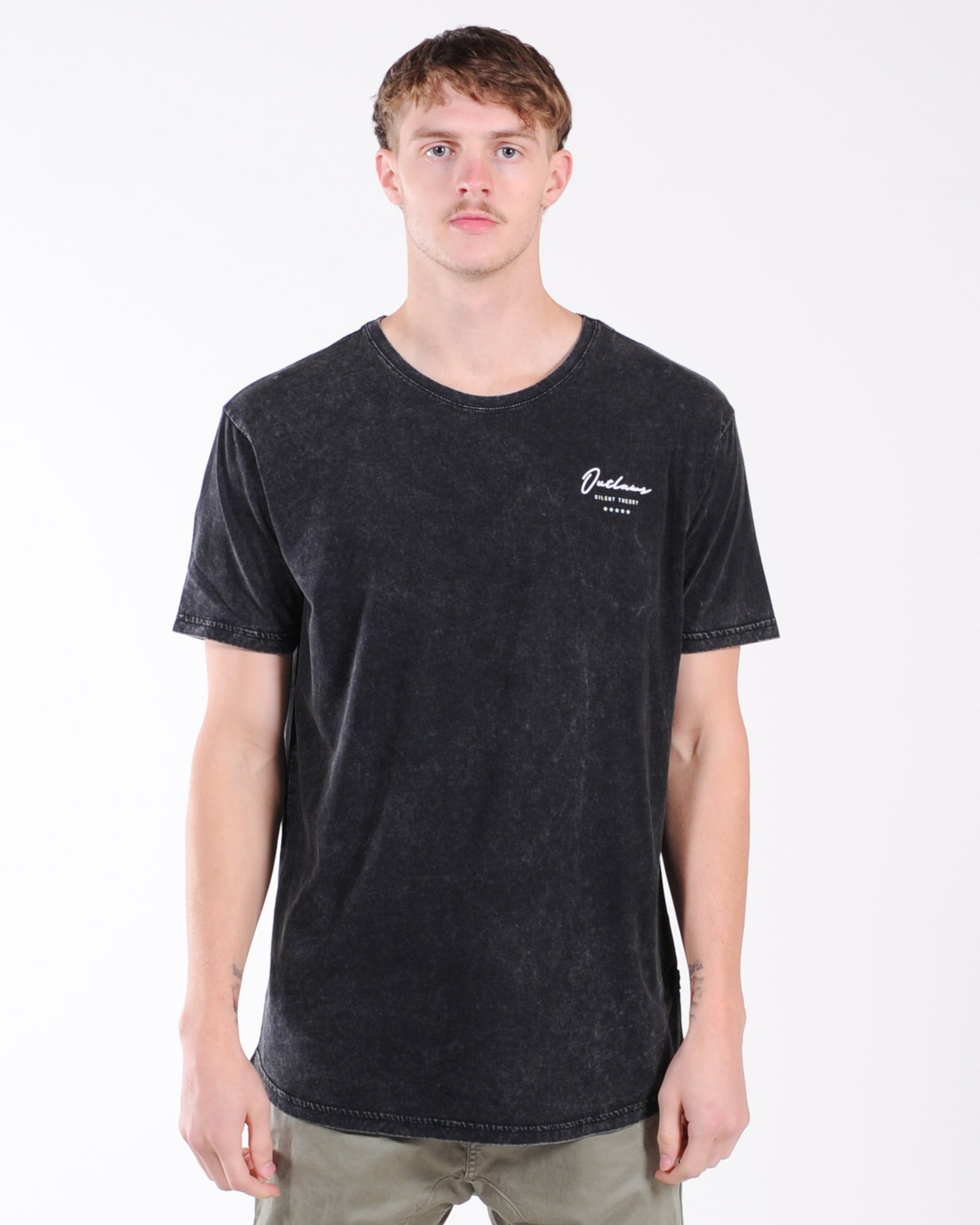 Silent Theory Outlaw Script Tee - Washed Black