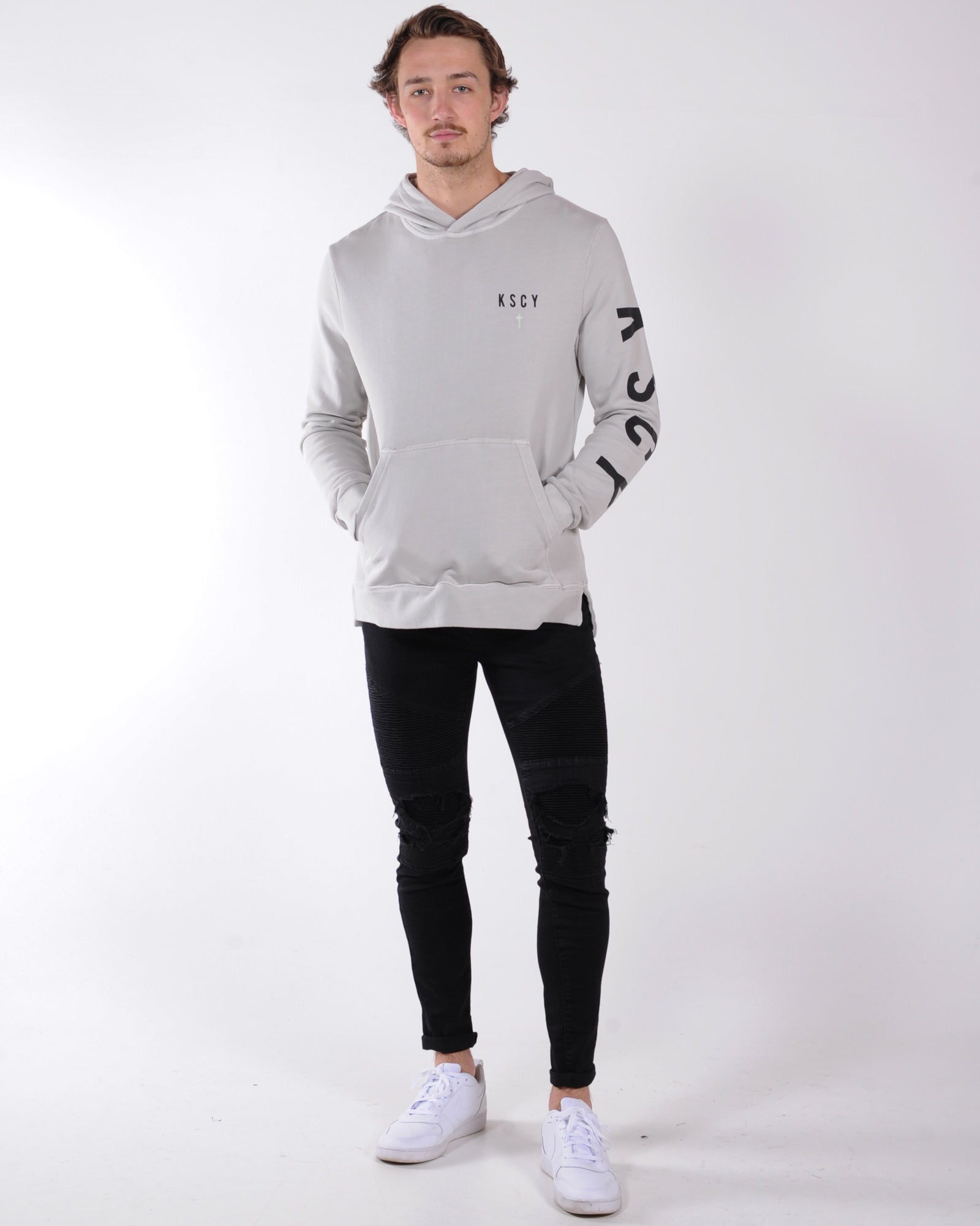 Kiss Chacey Down Town Step Hem Hooded Sweater - Pigment Stone