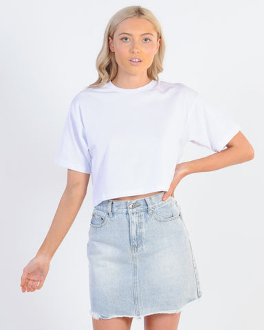 Vacay Denim Skirt - White