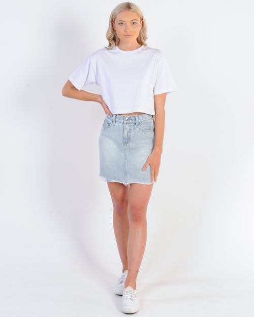 Silent Theory Relaxed Crop Tee - White