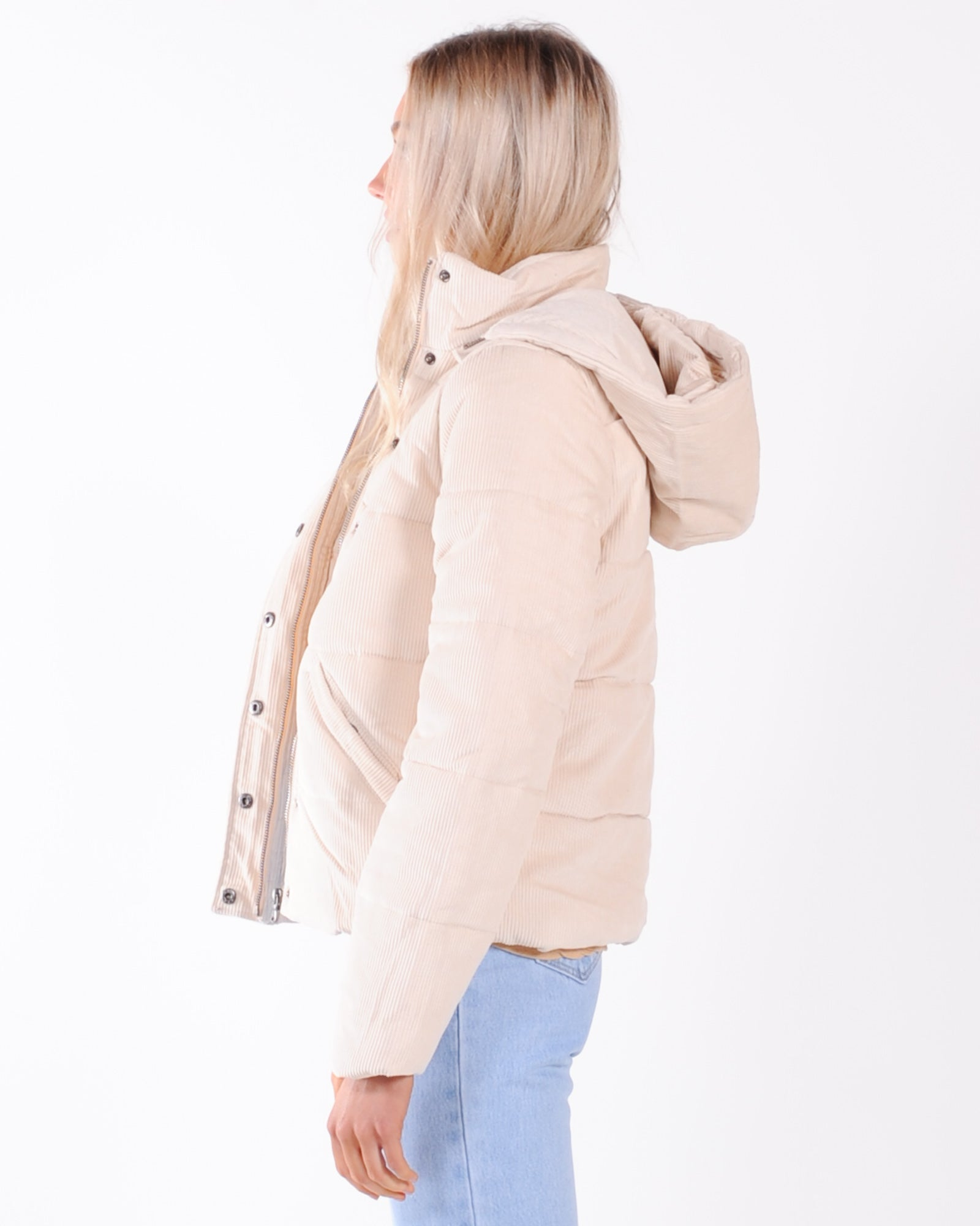 All About Eve Cali Cord Puffer Jacket - Vintage White