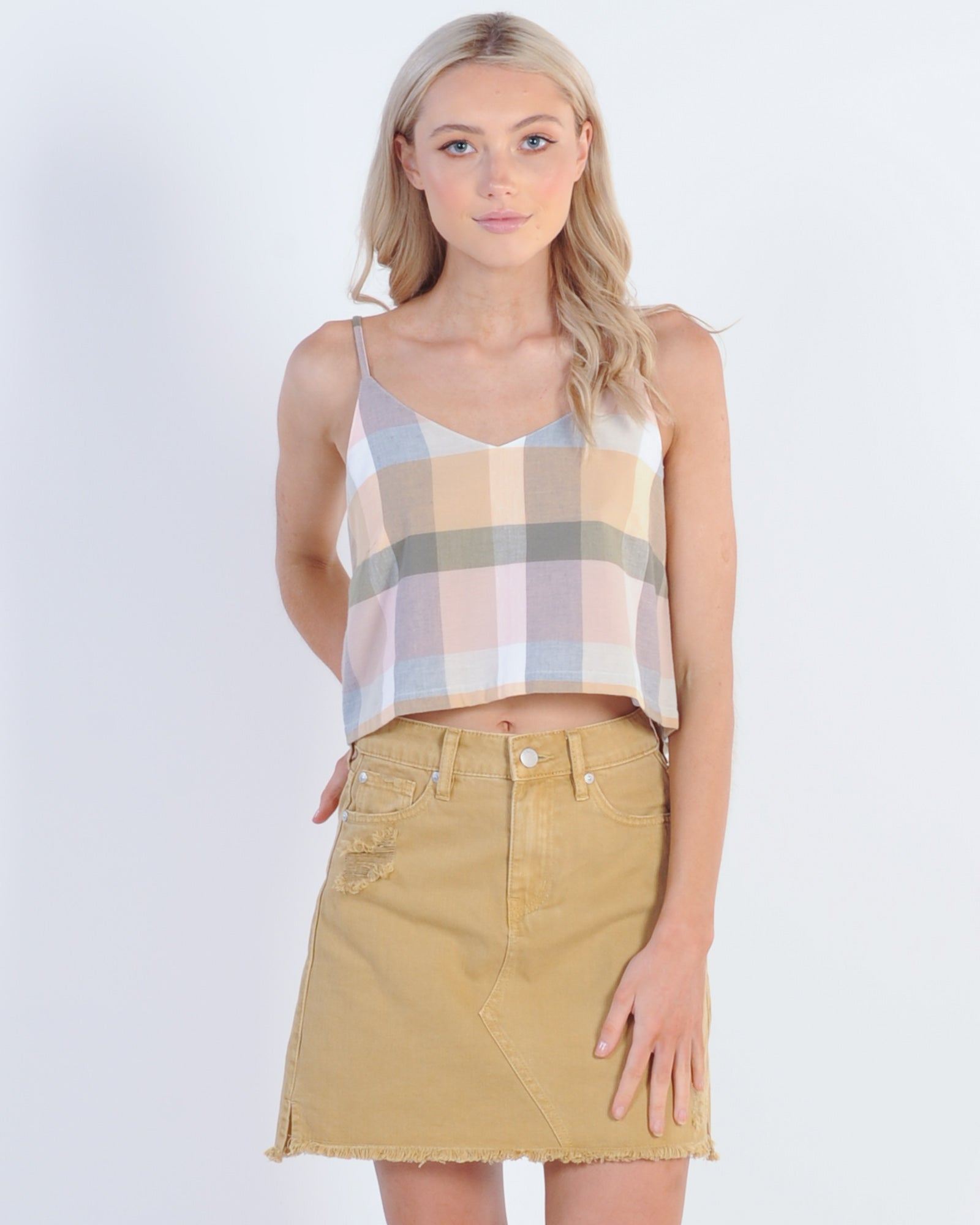 All About Eve Rainbow Check Cami - Rainbow Check