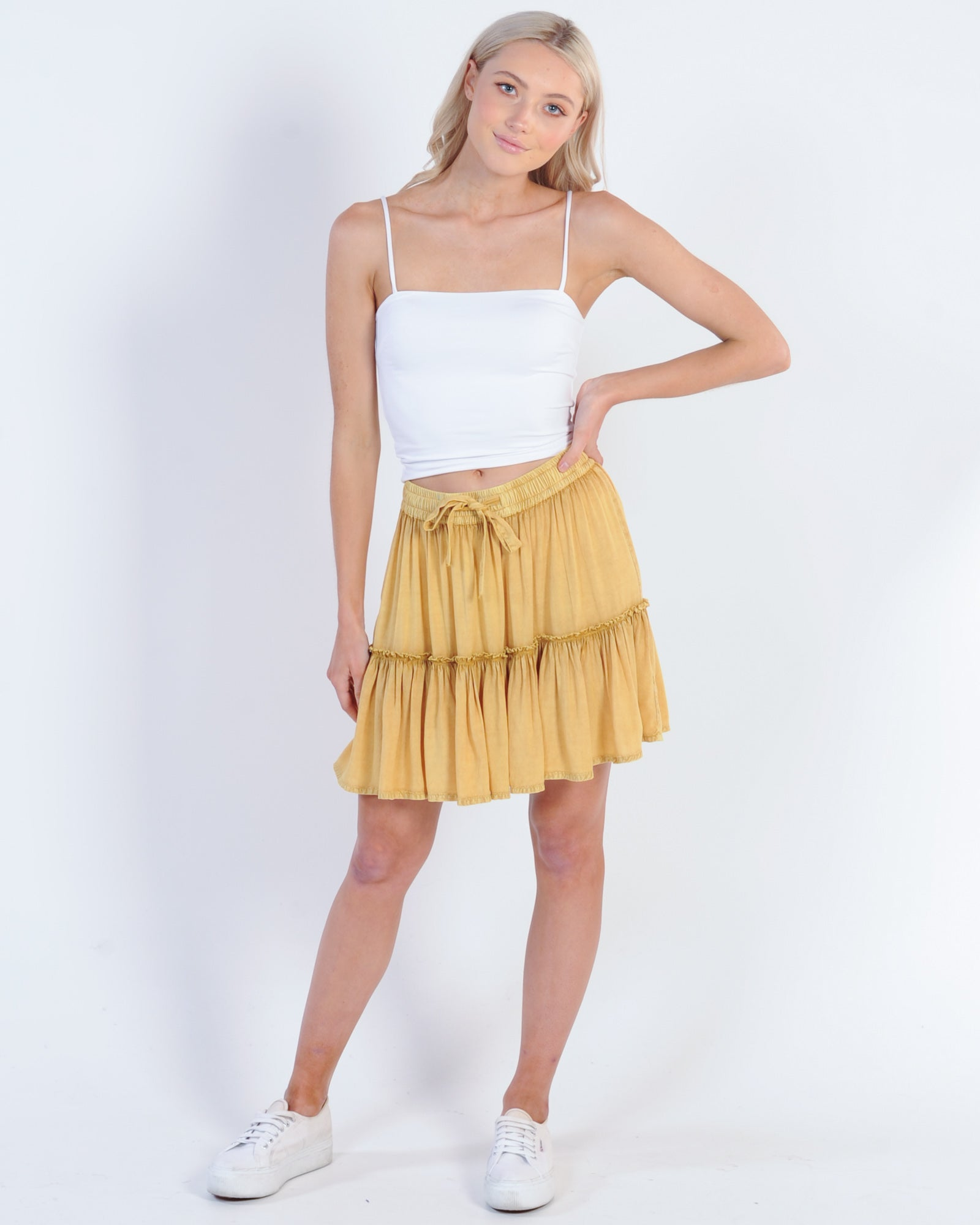 All About Eve Supple Washed Skirt - Yellow Saffron