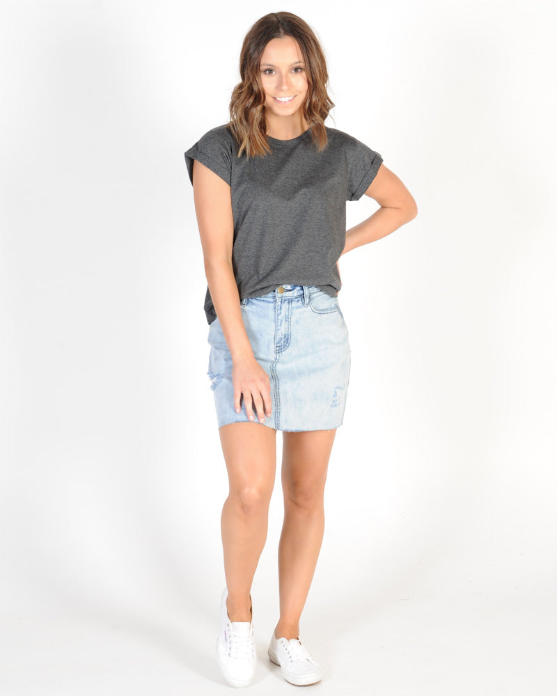 SILENT THEORY LUCY TEE - CHARCOAL MARLE