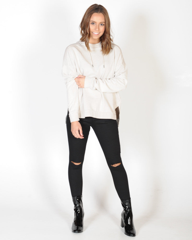 ALL ABOUT EVE EVE SUBDUED HOODY - VINTAGE WHITE