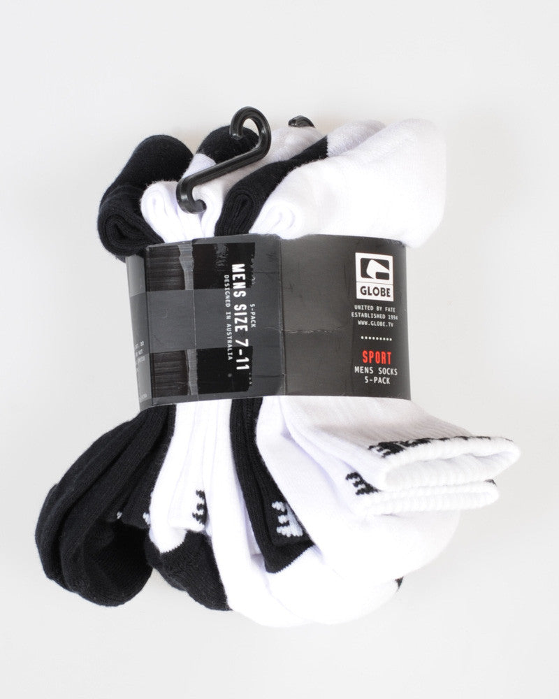 Globe 5 Pack Crew Socks - Black/White - 7-11