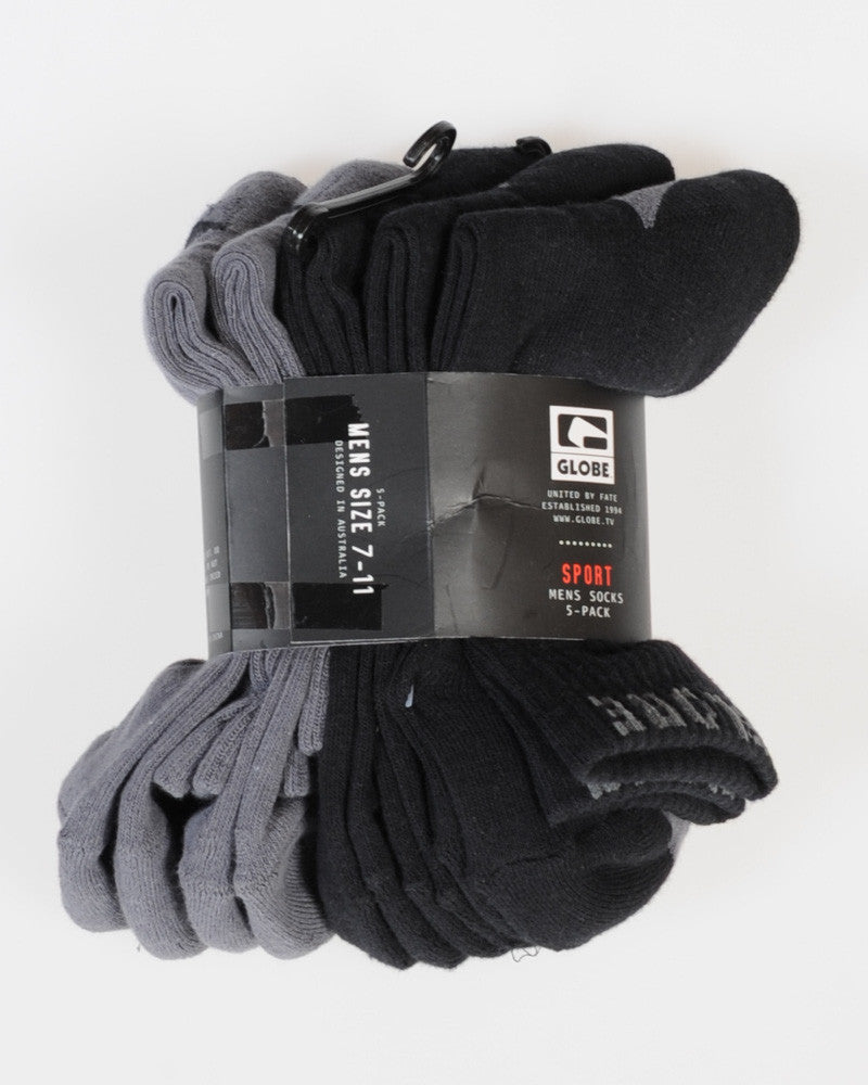 GLOBE 5 PACK CREW SOCKS - BLACK/GREY - 7-11
