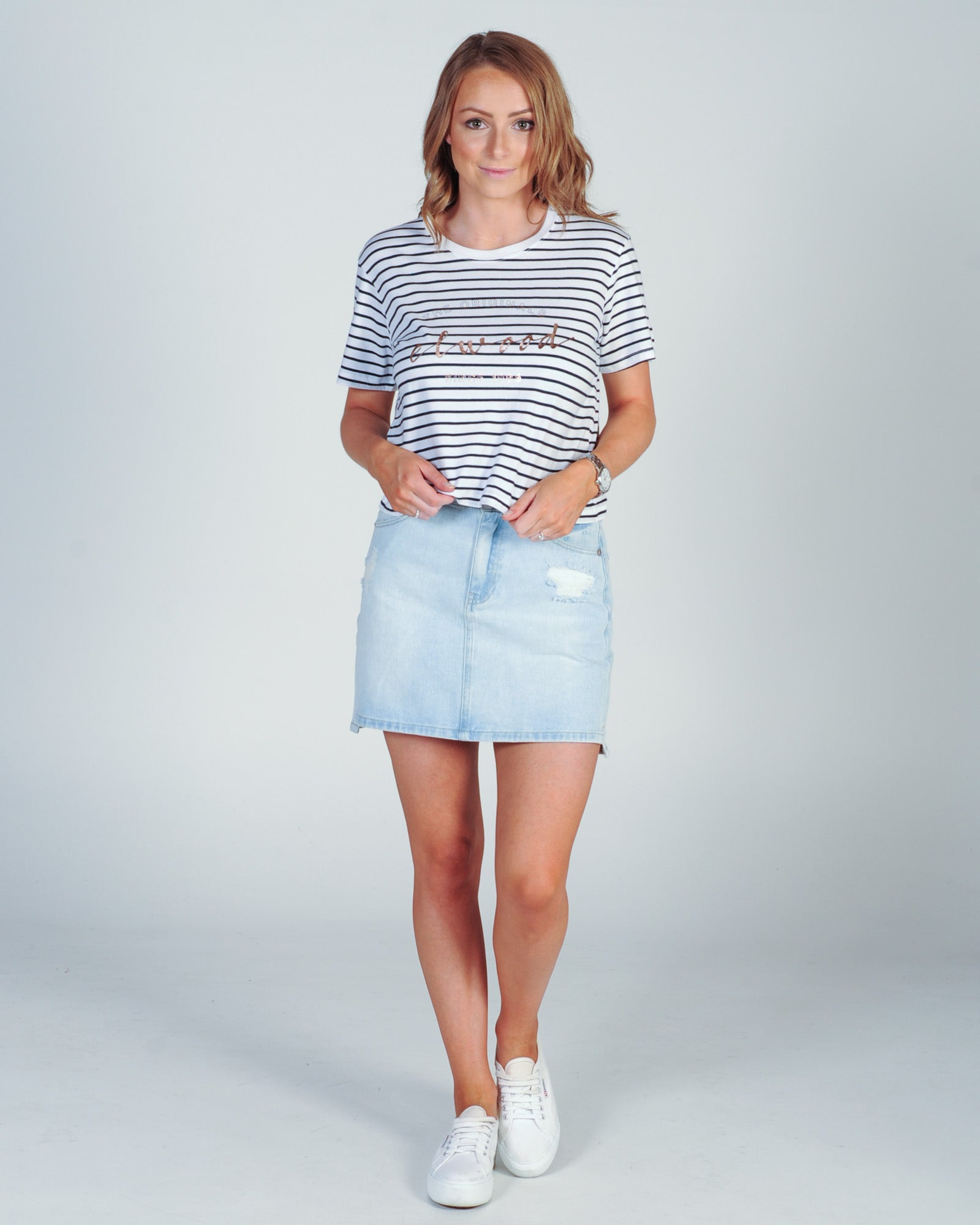 Elwood Ruby Crop Tee - Navy Stripe
