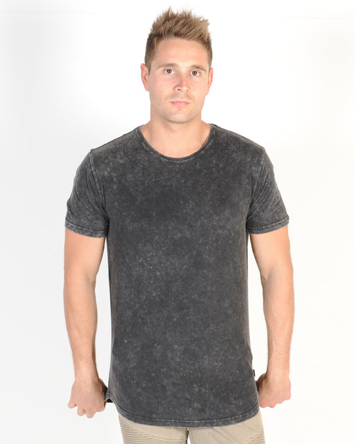 SILENT THEORY ACID TAIL TEE - WASHED ACID BLACK