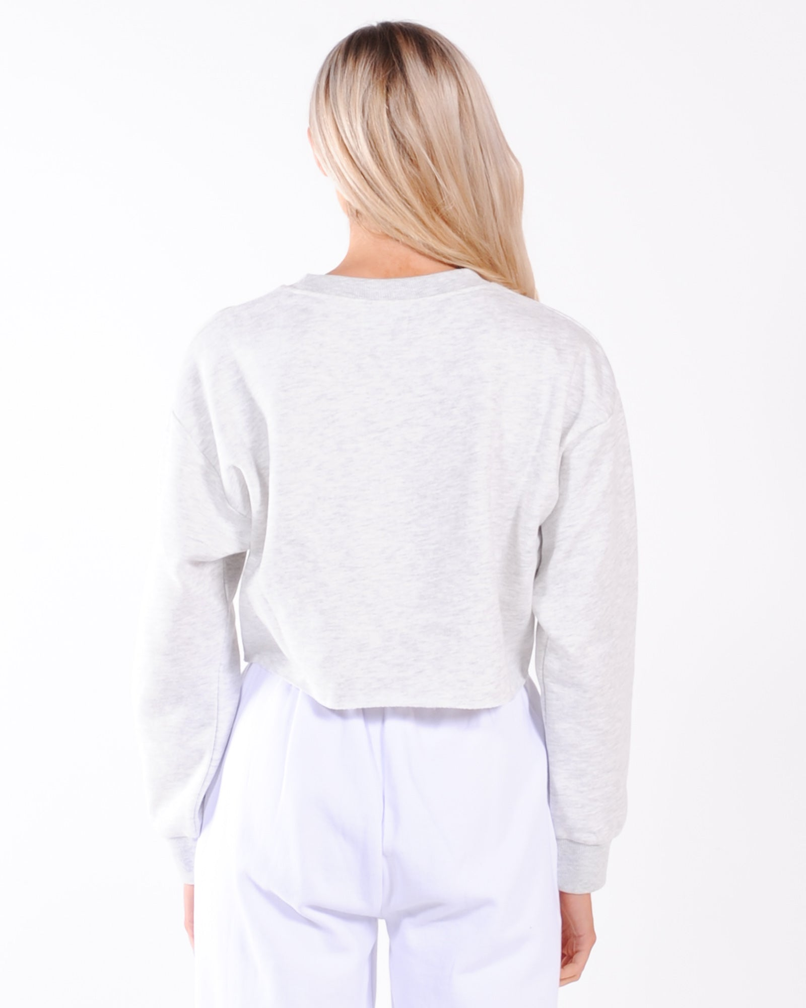 Nude Lucy Carter Crop Crew Sweat - Snow Marle