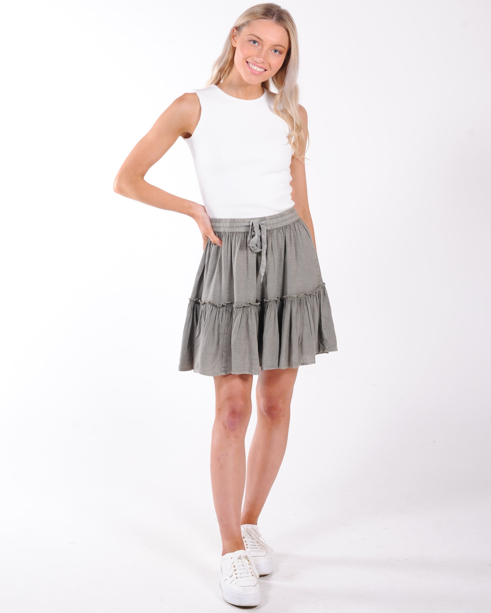 All About Eve Supple Washed Skirt - Khaki