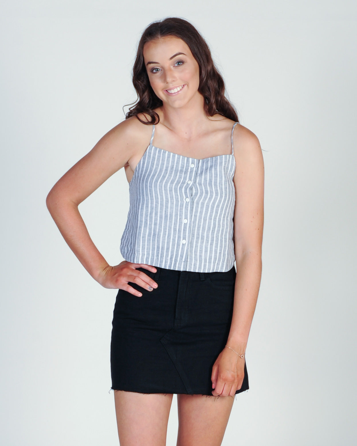 Elwood Teagan Top - Grey Stripe