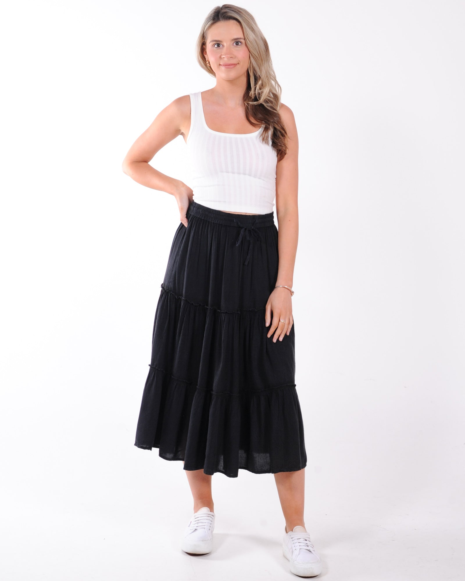 All About Eve Claudia Midi Tiered Skirt - Black