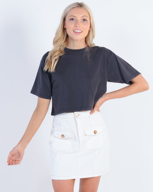 Silent Theory Relaxed Crop Tee - Washed Black