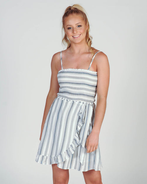 Beyond Romance Dress - Black White Stripe