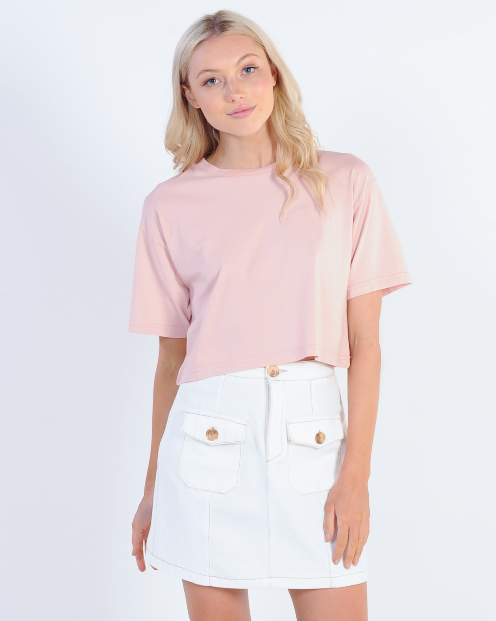 Silent Theory Relaxed Crop Tee - Dusty Pink