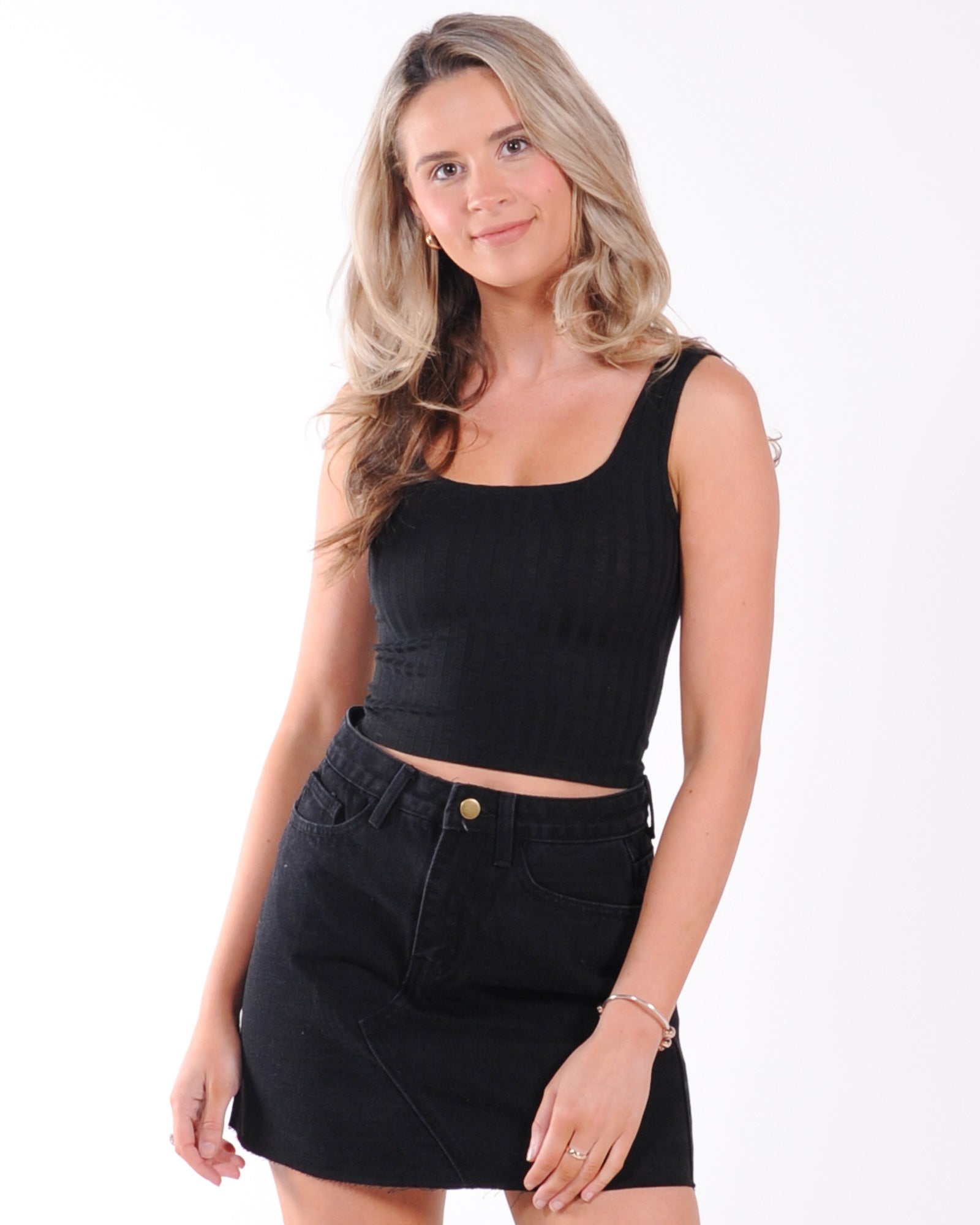 All About Eve Revival Square Neck Tank - Black