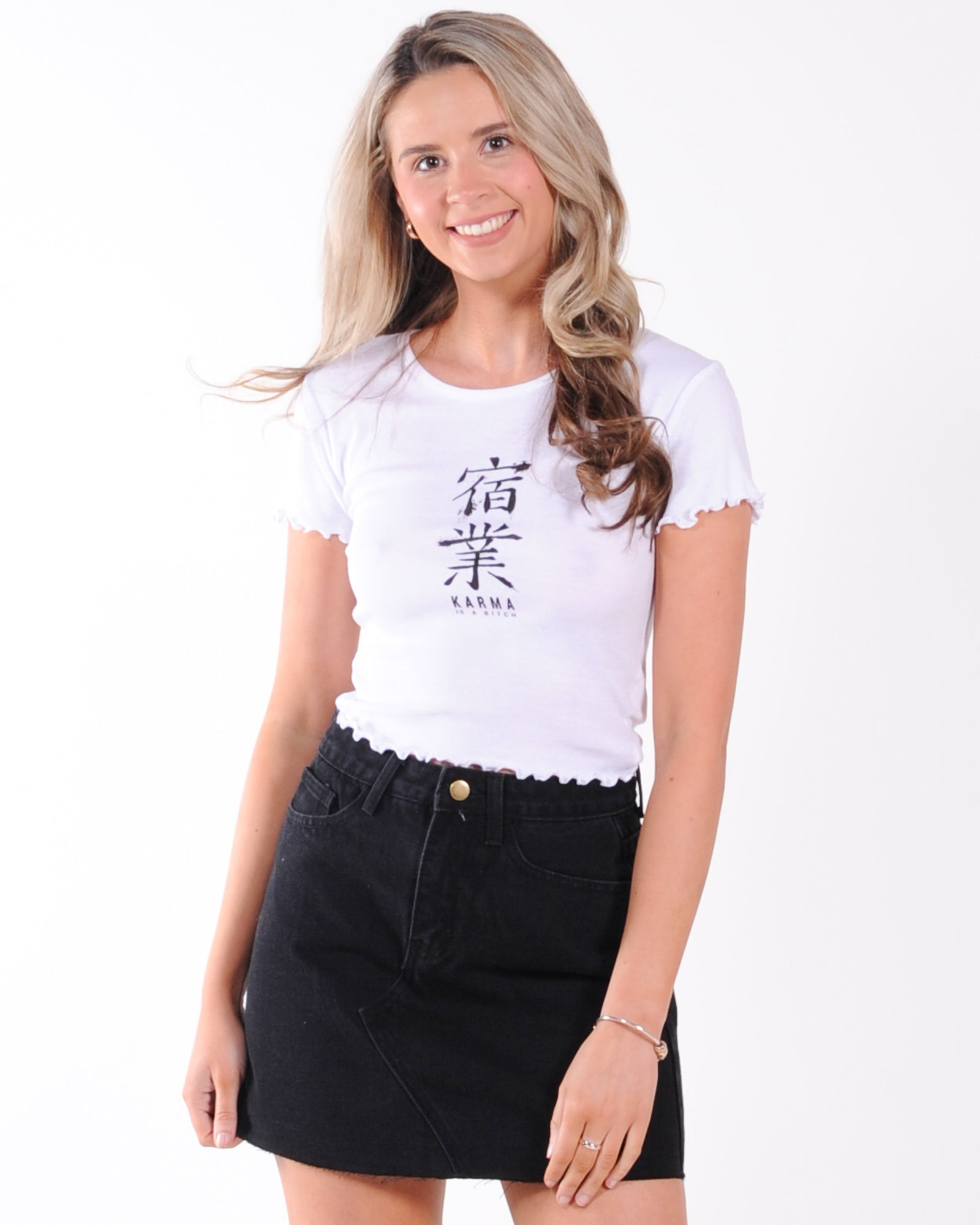 All About Eve Karma Crop Tee - White
