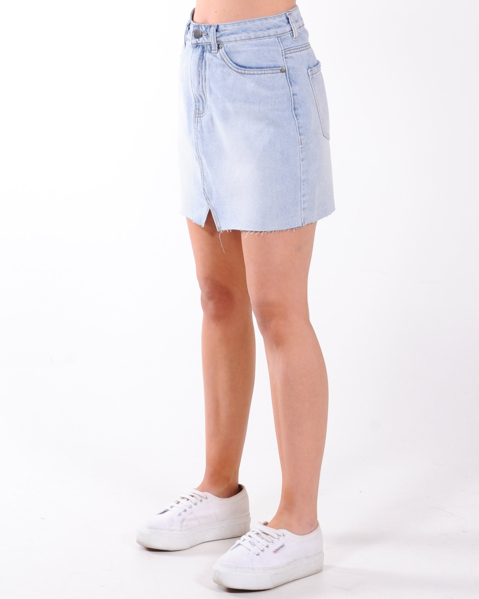 All About Eve Shea Spilt Denim Skirt - Vintage Wash
