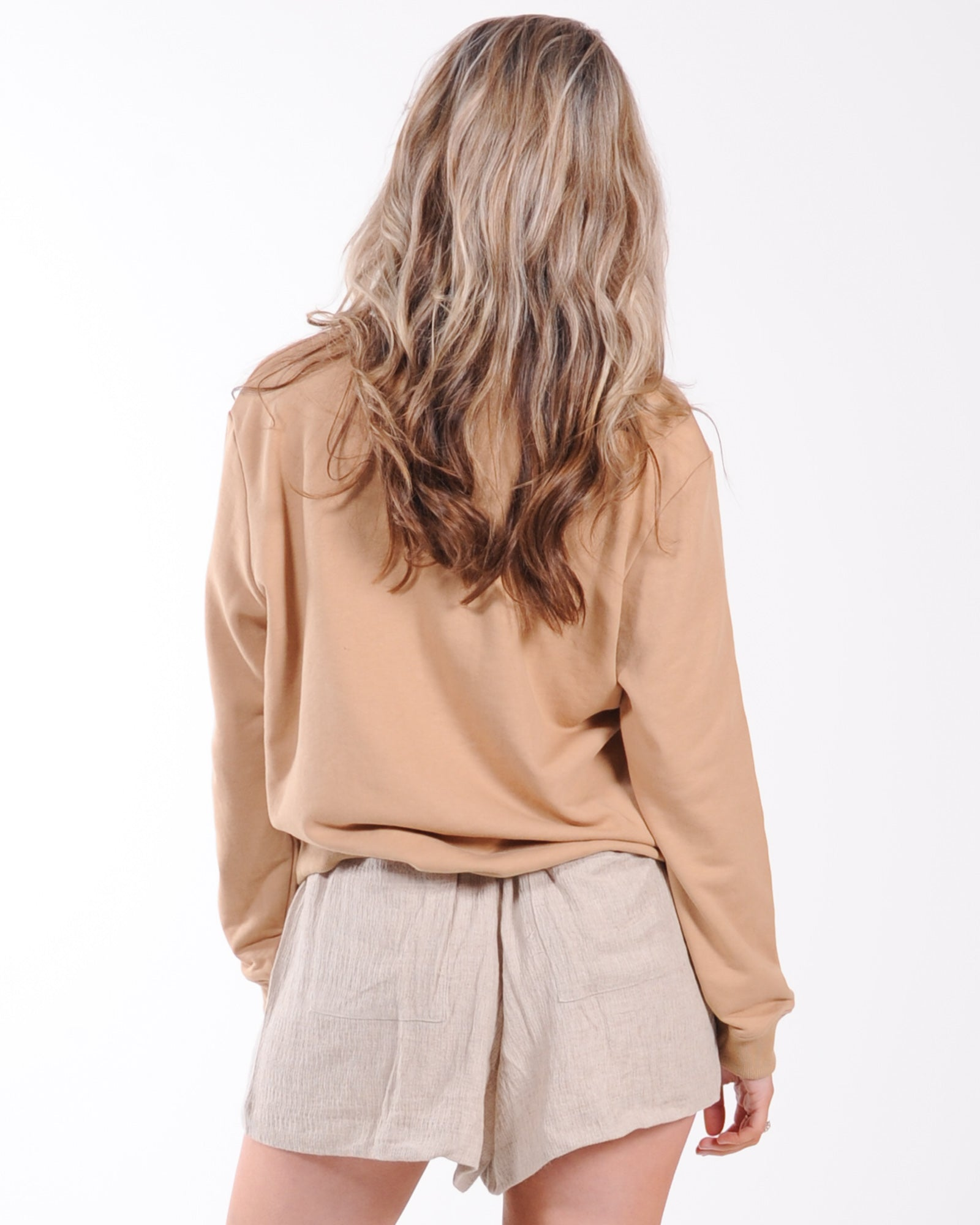 Madison The Label Embossed Sweat - Beige