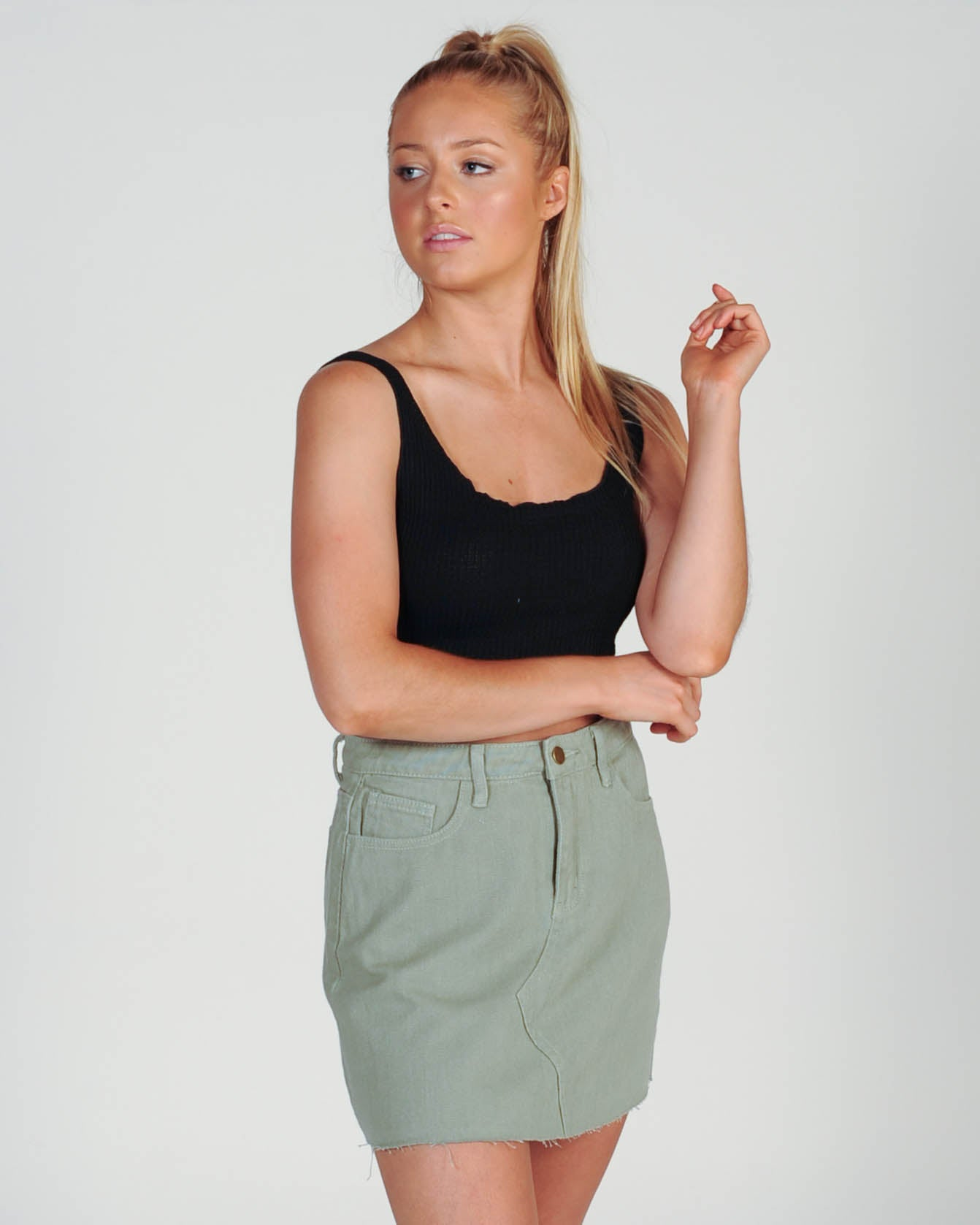 Vacay Denim Skirt - Khaki