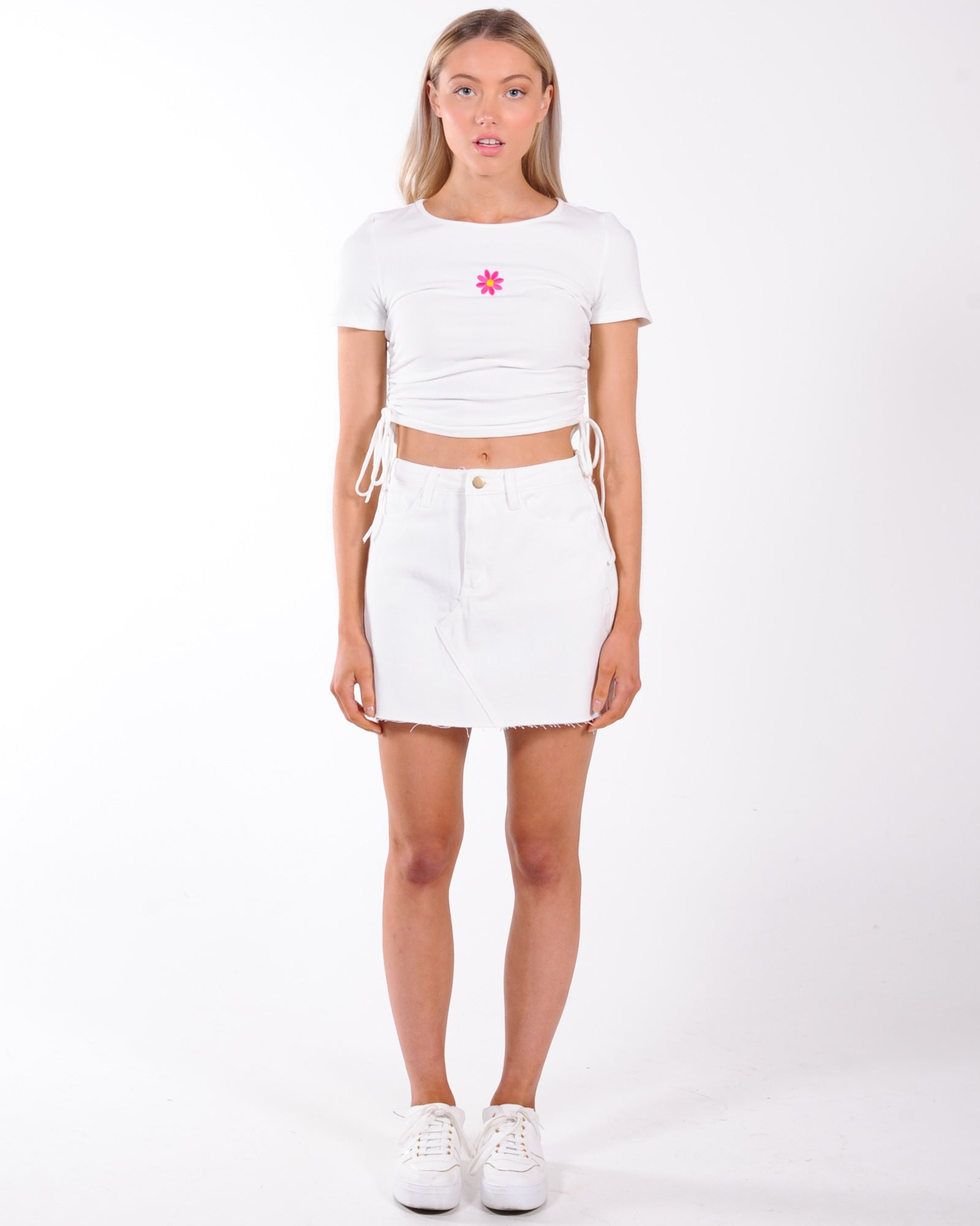 Flower Power Ribbed Top - White