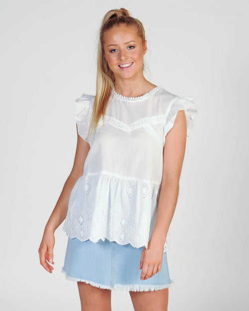 Madison The Label Lucinda Lace Top - White