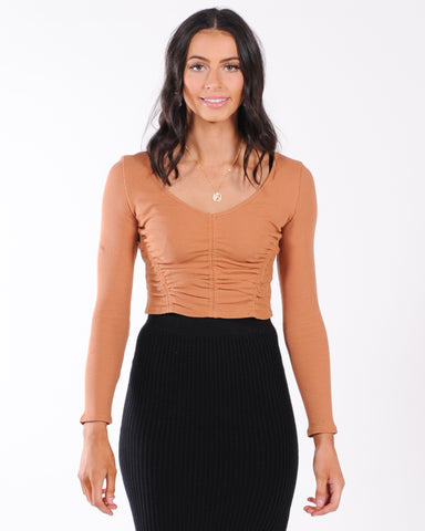 Flower Power Ribbed Top - Black