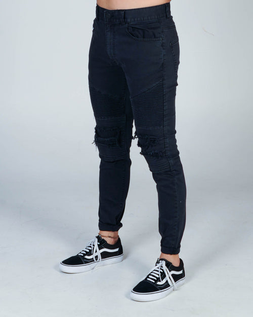 Nena & Pasadena Combination Slim Biker Jean - Washed Black