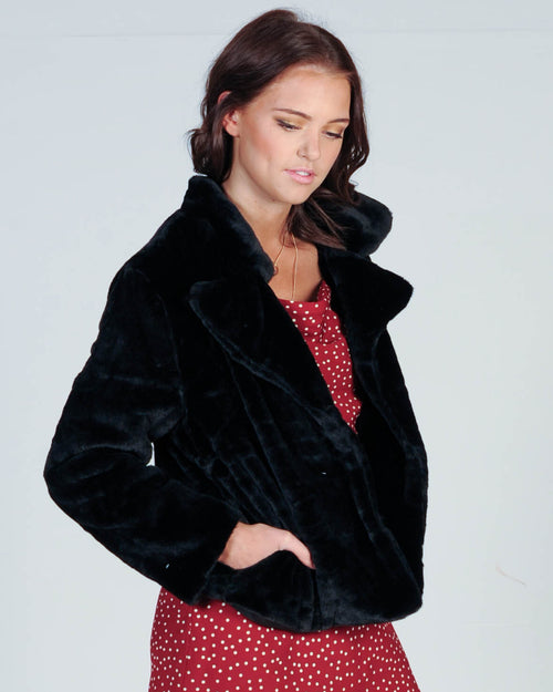 FIERCE FUR JACKET - BLACK