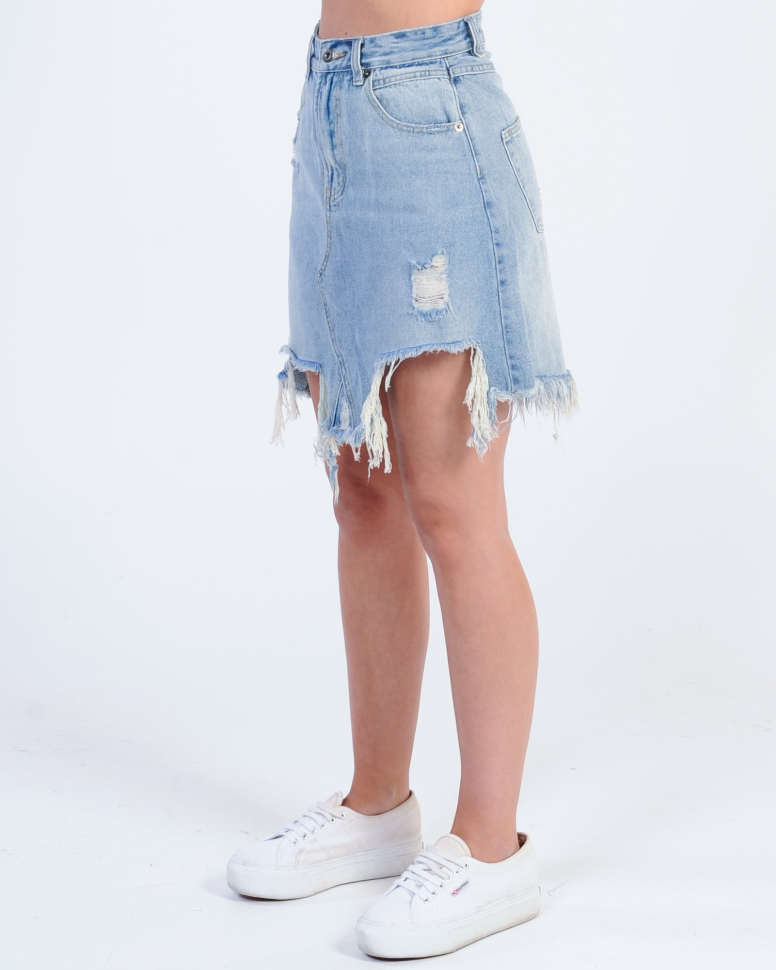 Madison The Label Jaymee Denim Skirt - Blue