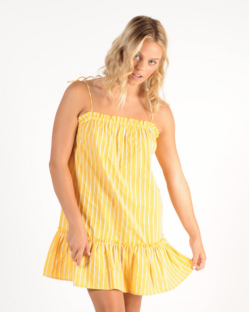 The Fifth Label Poppy Stripe Dress - Yellow/White