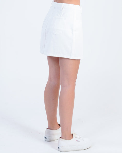 Rising Star Denim Skirt - White