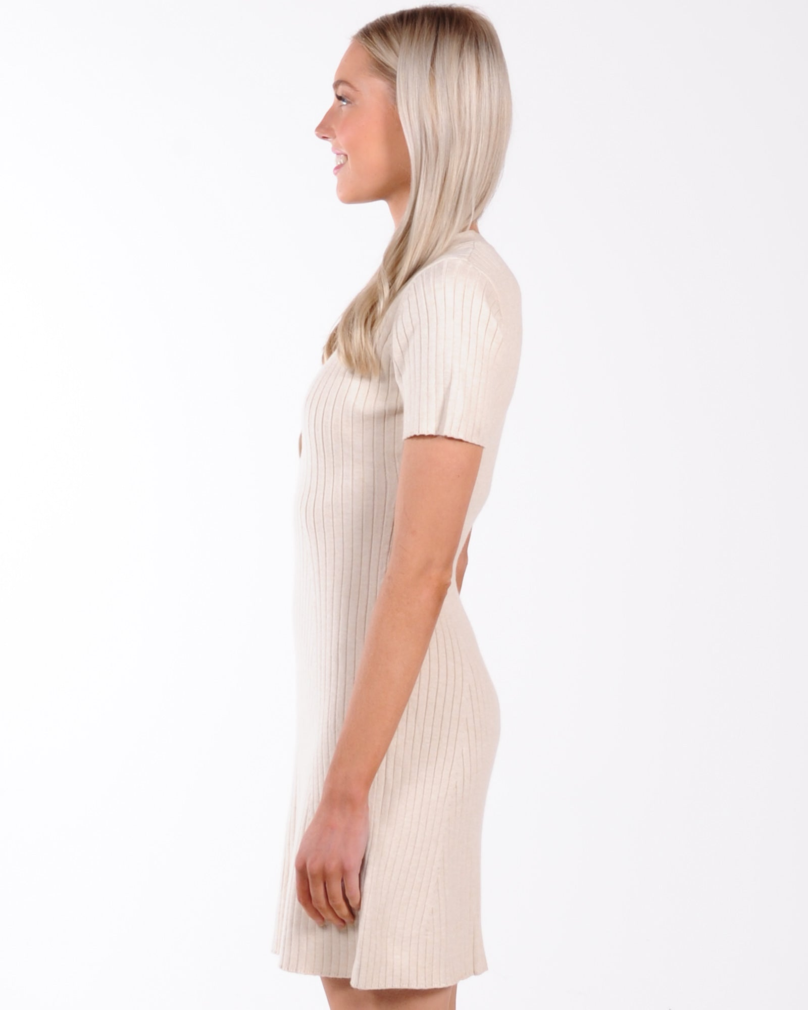 Off The Court Ribbed Knit Dress - Beige
