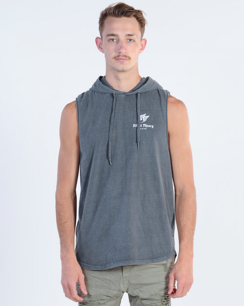 Silent Theory Flying Away Hooded Muscle Top - Charcoal