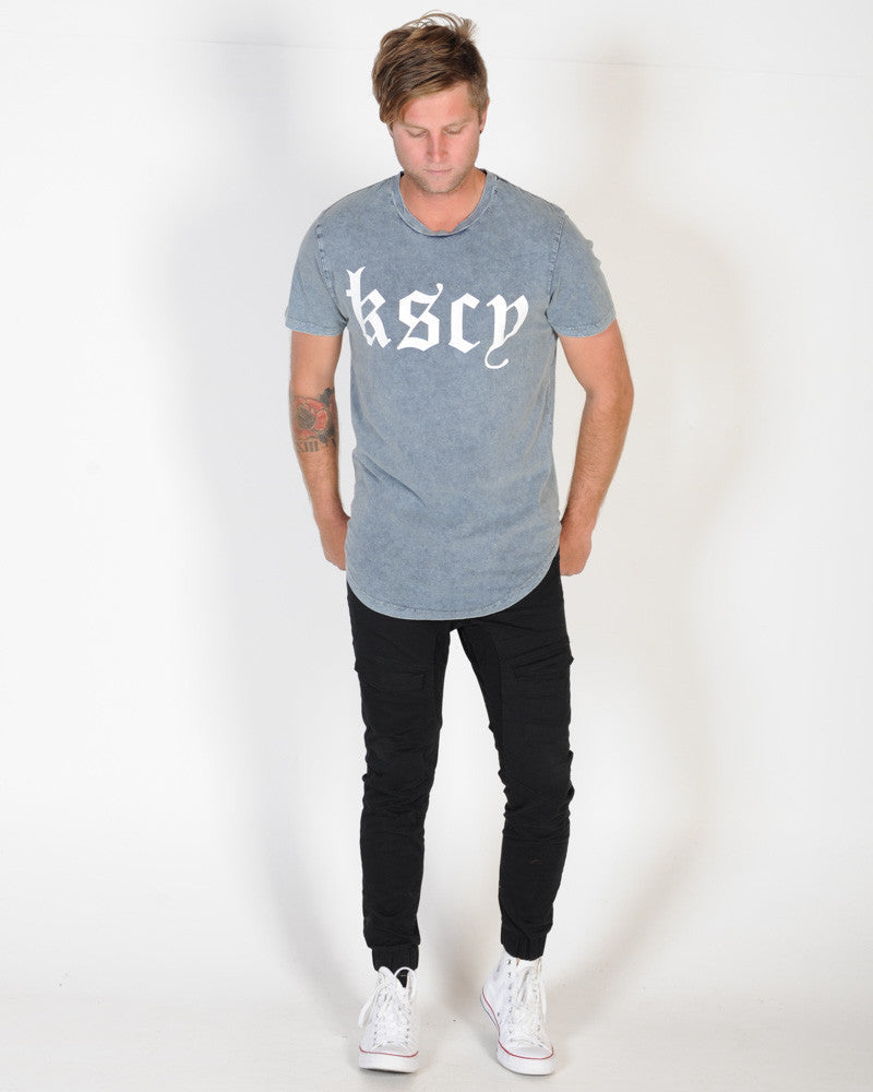 KISS CHACEY THE SCRIBE DUAL SCOOP TEE - ACID PATRIOT BLUE
